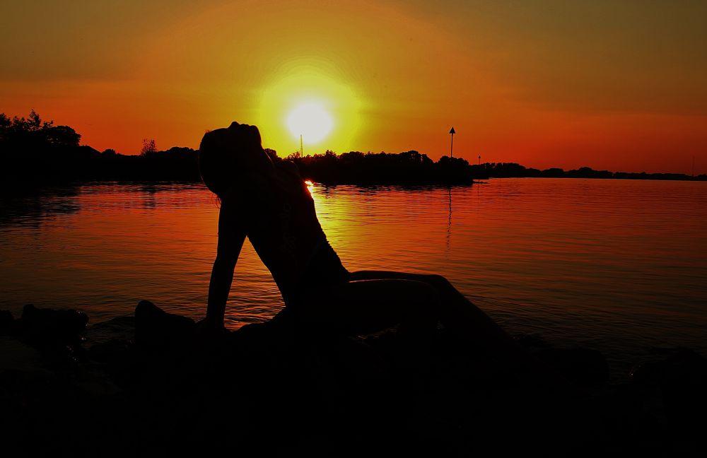 Photo in Portrait #sunset #orange #sky #se7en #love #childhood #mother #indian summer #sun #portrait #people #family #colours
