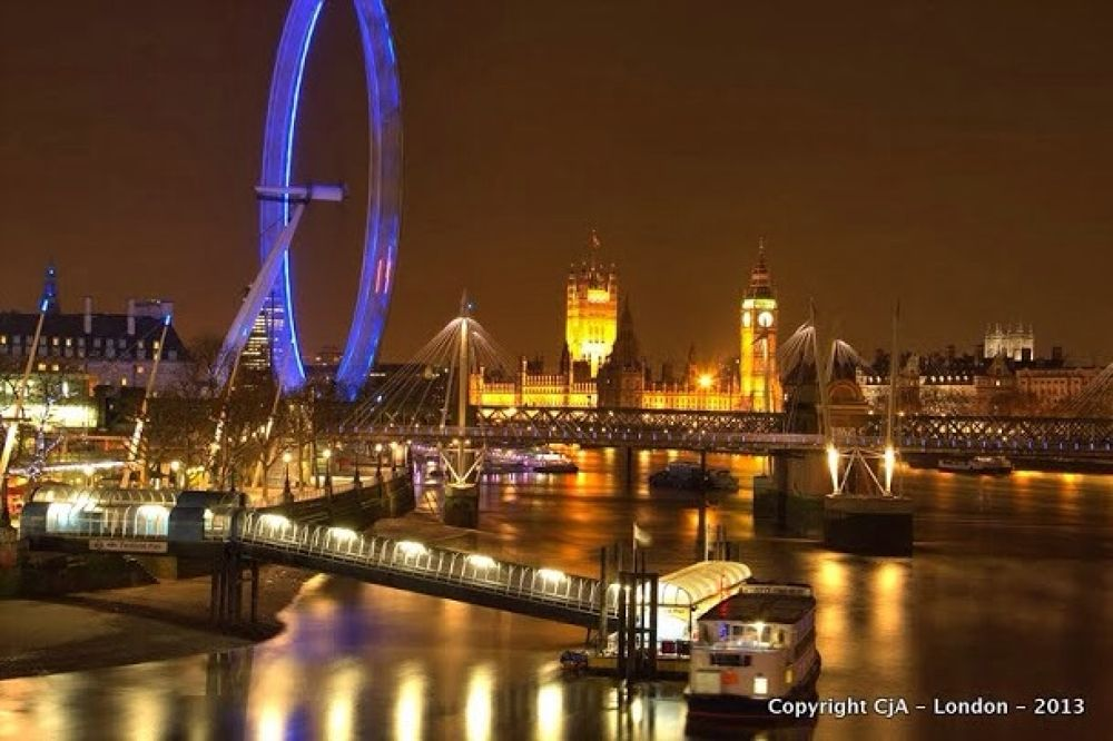 Photo in Cityscape #london eye #parliament #night #bridge #london #westminster