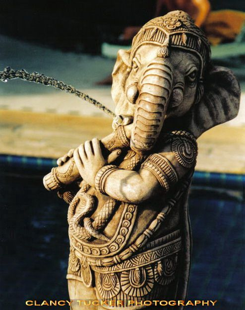 Photo in Animal #fountain #water #elephant