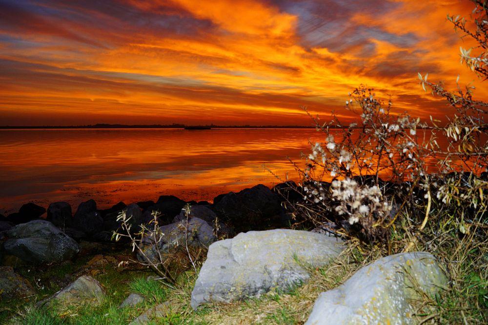Photo in Landscape #sunset #colored sky #kabbelaarsbank #reflections #lake #ouddorp #netherlands