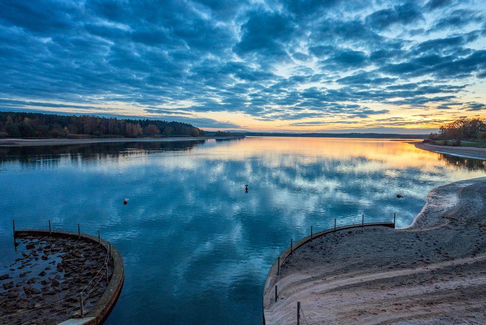 Photo in Landscape #rothsee #mittelfranken #blau #sunset #wasser #wolken #travel #spiegelung