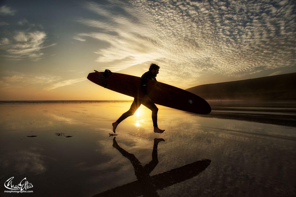 Photo in Sea and Sand #surfer #sunset #devon sunset #surfing