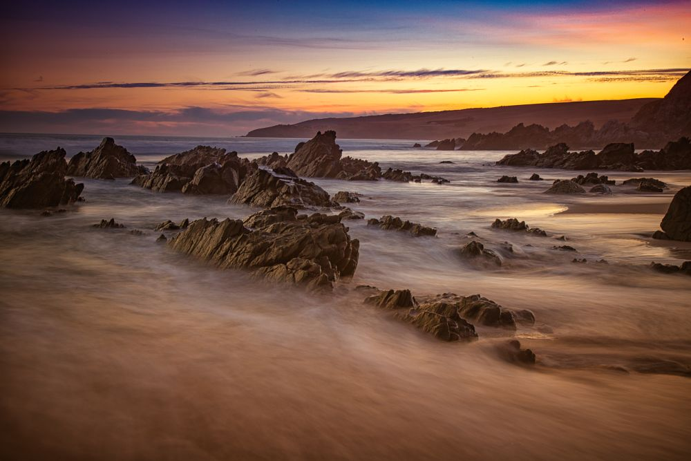 Photo in Sea and Sand #sunset #seascape #rocks #long exposure