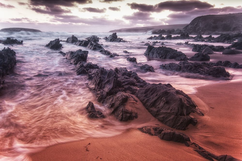 Photo in Sea and Sand #sunset #beach #rocks #waves #sand #seascape #waterscape #landscape #clouds #sea