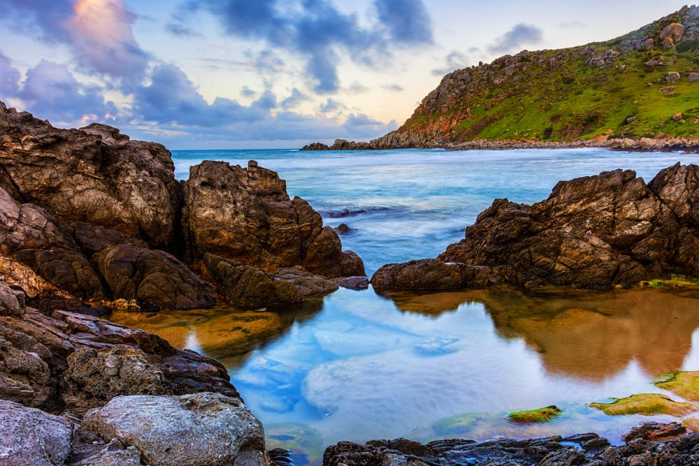 Photo in Sea and Sand #water #rocks #sunset #clouds #beach #seascape #moss #sea #rock pool