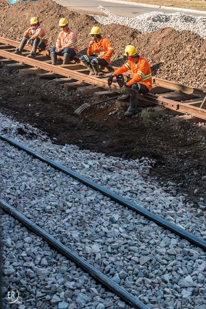 Photo in Street Photography #train #lane #train #transport #railroad #rail #workers #work #train #lane #transport #rail #streetphotography