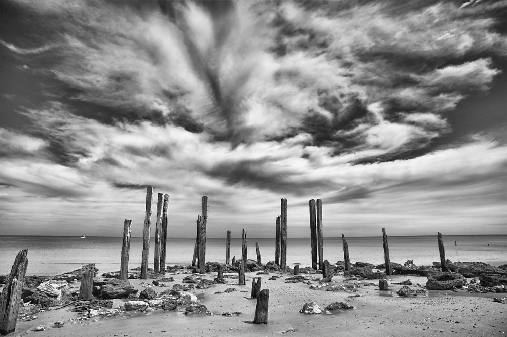 Photo in Random #seas #stone henge of the seas #broken #old jetty #nuts and bolts #skyscape #run down #black and white