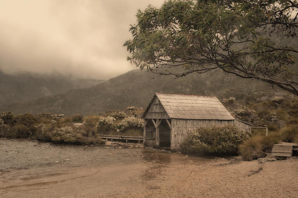 Photo in Landscape #misty #boathouse #cradle mountain
