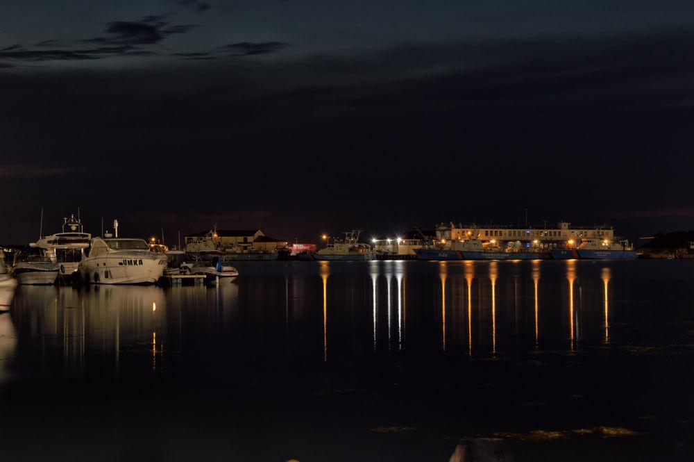 Photo in Landscape #long exposure #seascape #landscape #night #reflections #sea #water #boat #boats #marina #port #jetty #sky #pier