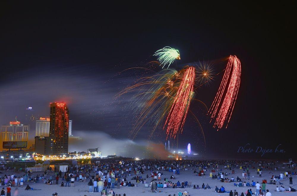 Photo in Cityscape #atlantic city beach fireworks #blue sky #blue #photodejan #brushmagic #send