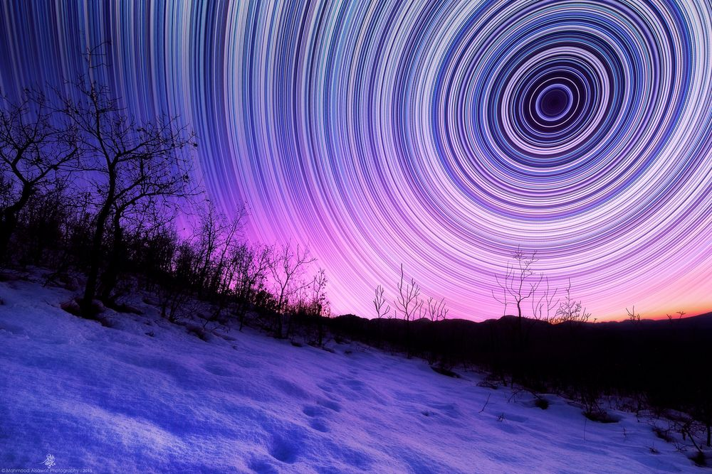 Photo in Fine Art #mahmood alsawaf #iraq #kurdistan #star trails #startrails #polar #night #night photography #stars #sunset #snow #fine art #fineart #landscape #night scape #sun down #neon #polar night #pink #blue #winter #trees #tree #astro #astro photography
