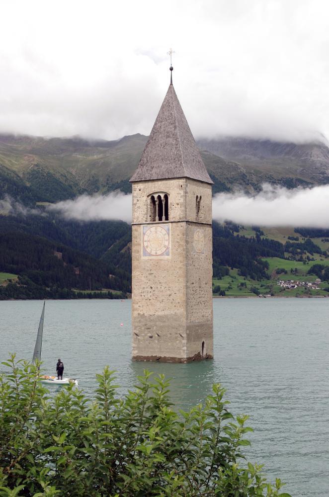 Photo in Landscape #church #bell tower #lago di resia #lake #reschensee #südtirol #south tyrol #trentino-alto adige #alto adige #adige #etsch #mountains #alps #clouds #cross #14th century #graun #curon venosta #vinschgau #artificial lake