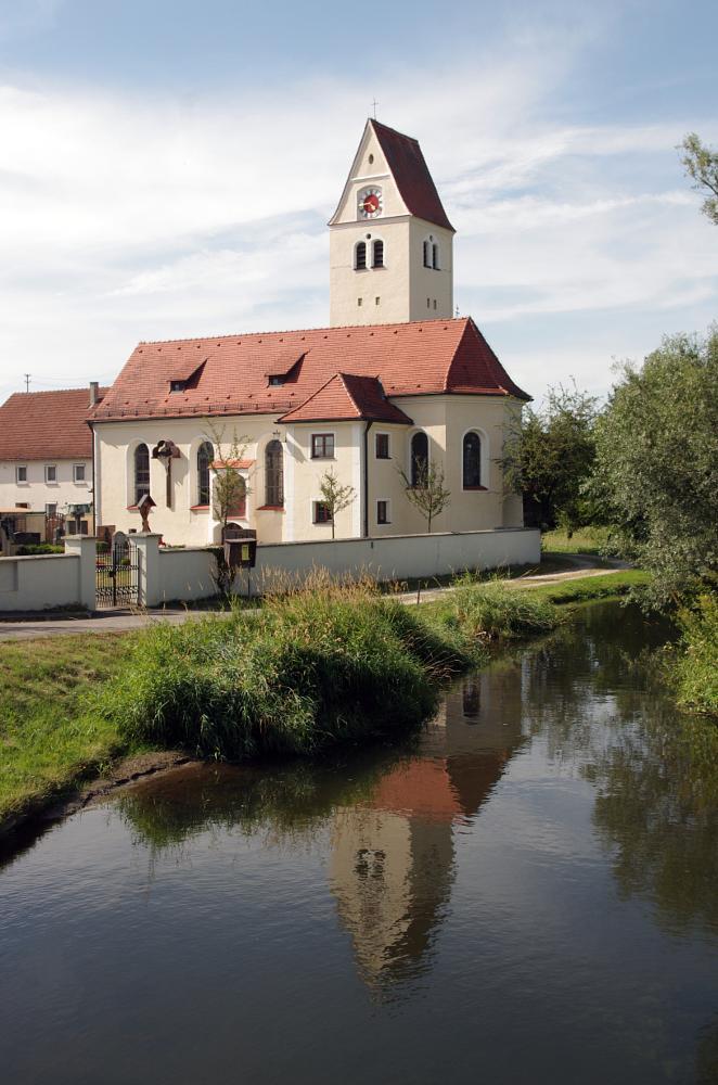Photo in Architecture #church #pfaffenhofen #remmeltshofen #bavaria #swabia #germany #river #water #reflection #green #heaven #blue #trees #roth