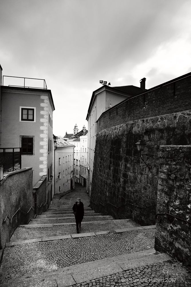 Photo in Cityscape #castle #linzer #stairs #black & white