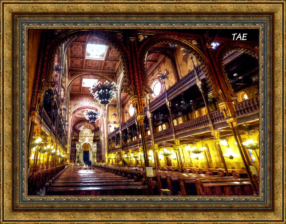Photo in Interior #art #oil #budapest #interior #fine #hungary #canvas #synagogue