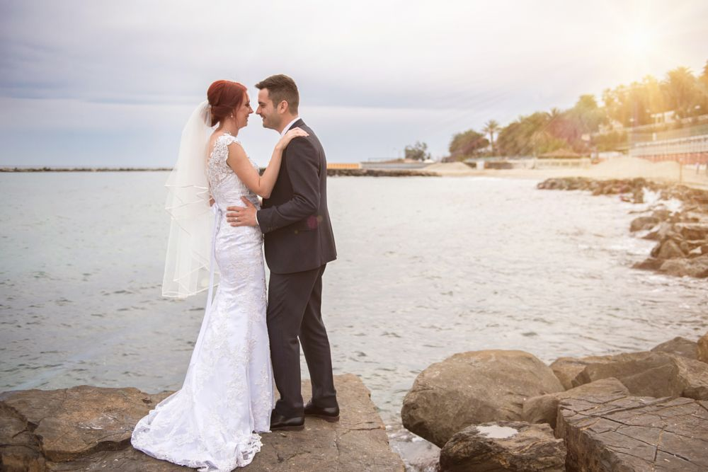 Photo in Wedding #wedding #sea #bride #sun #flare #couple #love #eternity #forever