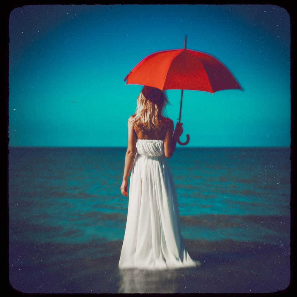 Photo in Fine Art #woman #portrait #fine art #baltic sea #toning #umbrella #red