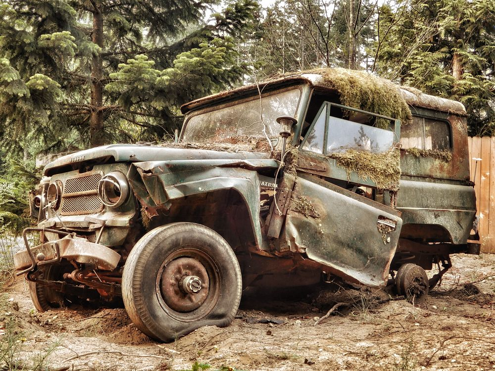 Photo in Street Photography #vehicle #wreck #decay #vintage #street photography