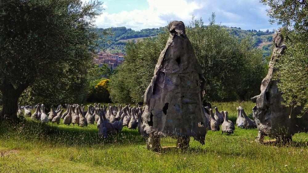 Photo in Fine Art #nature #landscape #village #olive tree #hill #sculpture #garden #fine art #tuscany #travel