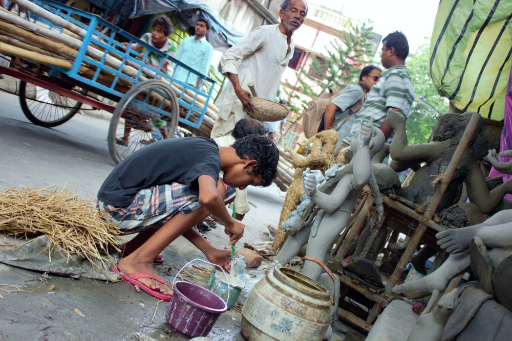 Photo in Street Photography #street #idol #festival #work #clay modelling #kolkata