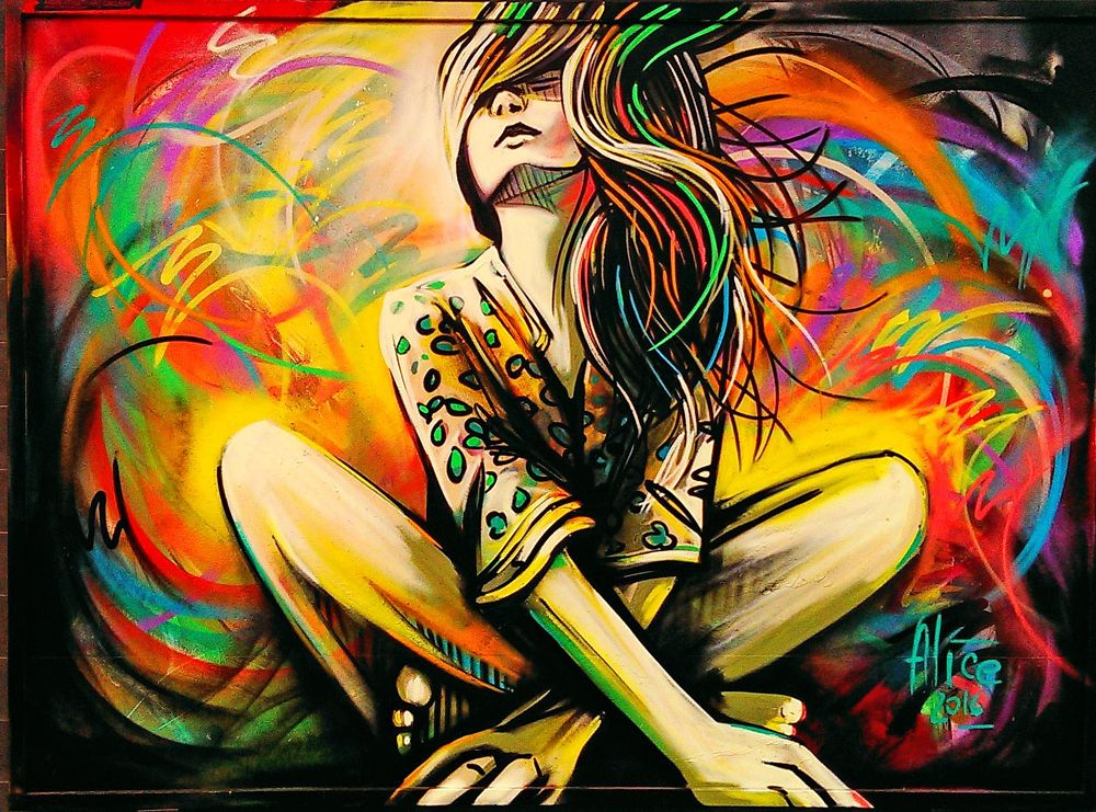 Photo in Cityscape #art #wall art #painting #colours #girl #outdoor #street art