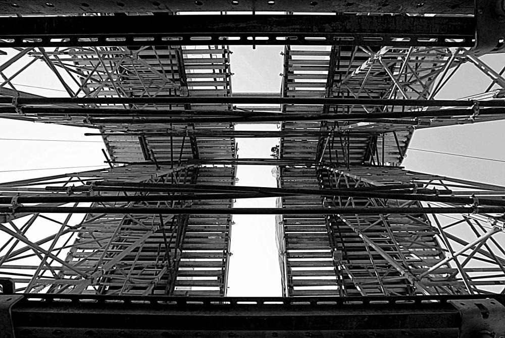 Photo in Architecture #construction #construct #bridge #build #built #building #constructing #balance #scaffold #scaffolding #symmetry #symmetrical #christosmith #magicsmith #southafrica #legacy #worker #photobomb #hardhat #diepsloot #canon5dmarkii #16-35mm #wideangle #wide #pipes #piping #beam #beams #blackandwhite #bw #lines #architecture #design