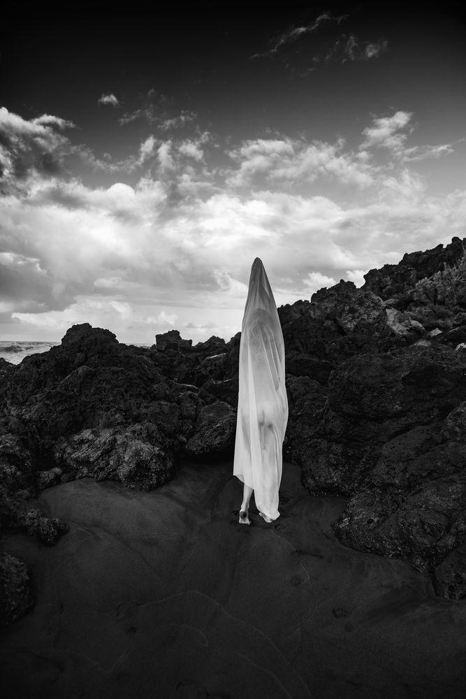 Photo in Black and White #rocks #ocean #sand #black #dramatic #sky #veil #transparent #sensual