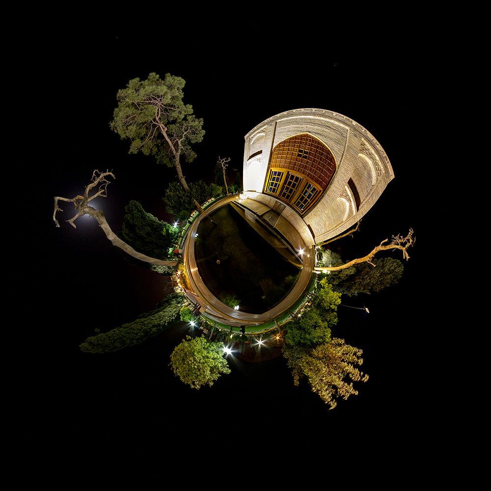 Photo in Random #360 #little planet #panorama #shiraz #night #iran
