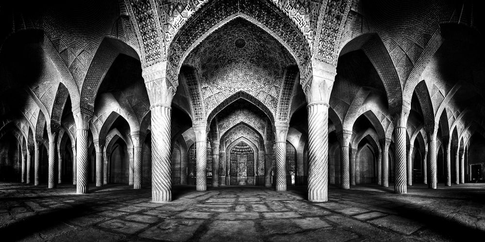 Photo in Architecture #vakil #iran #mosque #old #black and white #historical