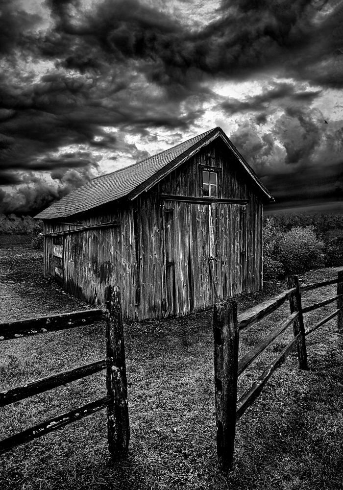 Photo in Black and White #farm #barn #fence #black and white #farming #quiet #horizons #wisconsin #phil koch