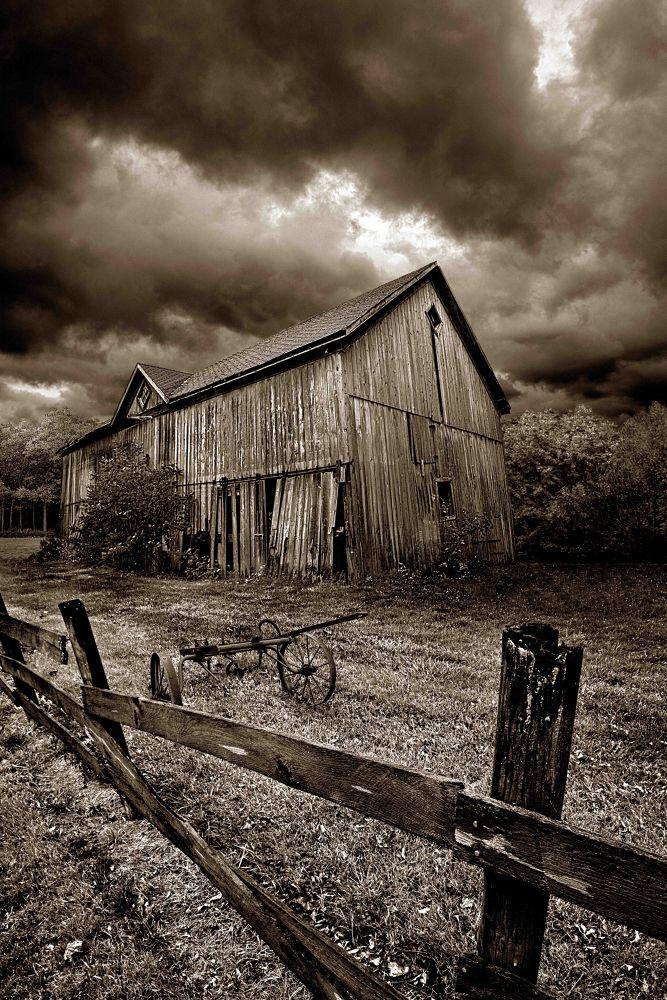 Photo in Random #abandonded #farm #barn #country #life #sepia #wisconsin #horizons #phil koch