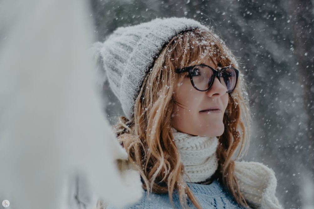 Photo in Portrait #portrait #close up #snow #snowflake #look #glasses #hair #young #smile #scarf #hat #winter #cold #beautiful #boken #nikon #nature #outdoors #winterfemale