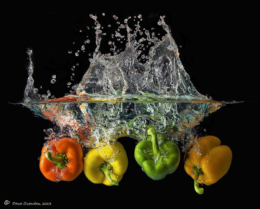 Photo in Random #water #green #orange #red #yellow #spray #pepper #splash #ovenden