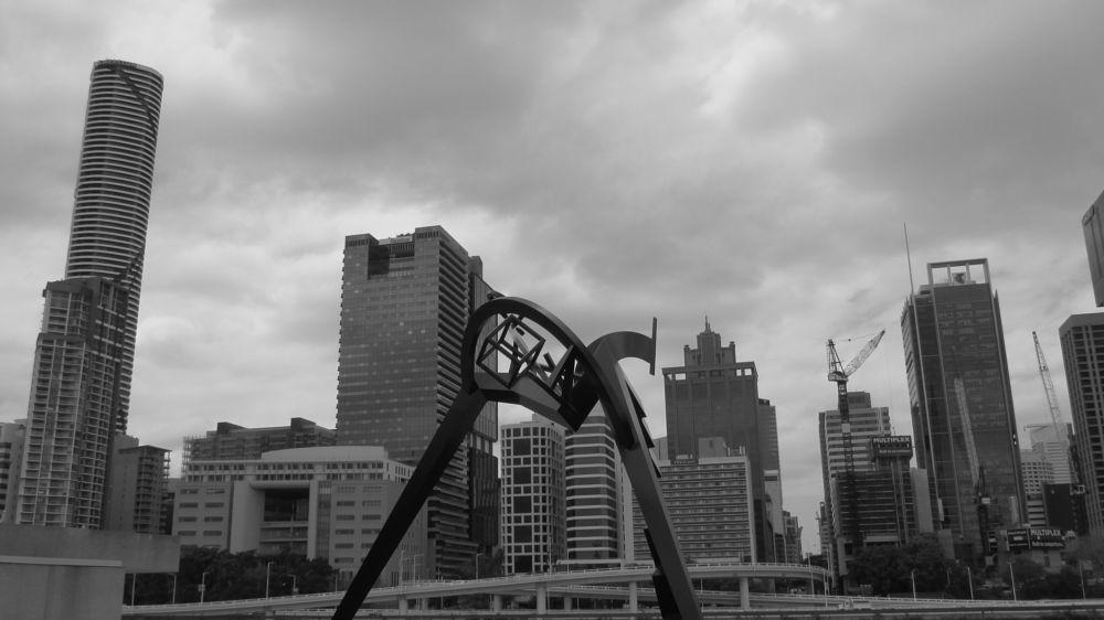 Photo in Architecture #buildings #sculpture #art #architecture #b&w #blackandwhite #brisbane