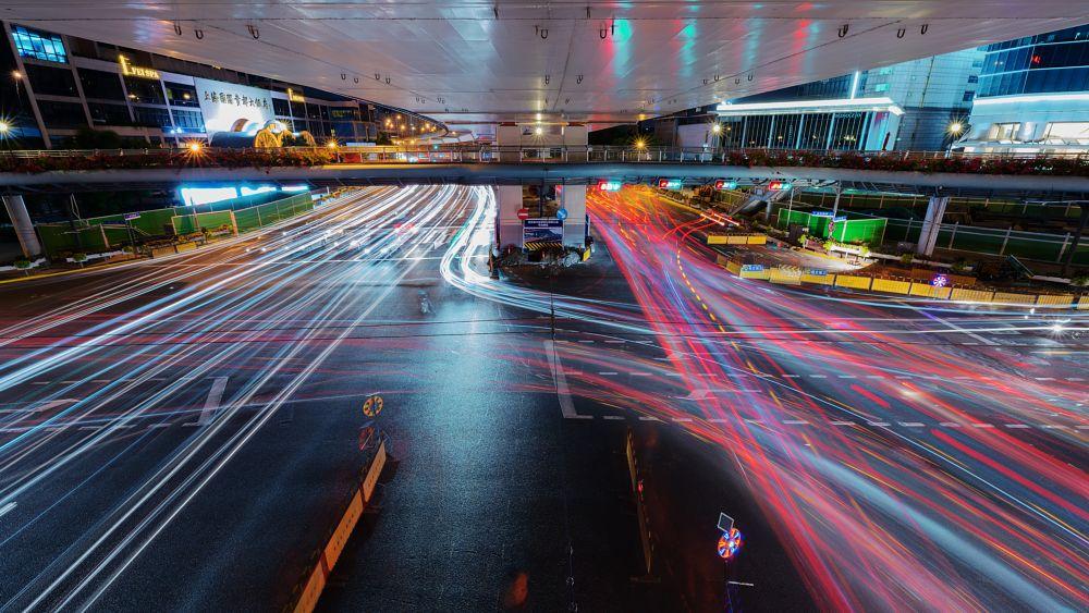 Photo in Cityscape #night #nightscape #city #cityscape #bridge #china #shanghai #building #architecture #light #long exposure