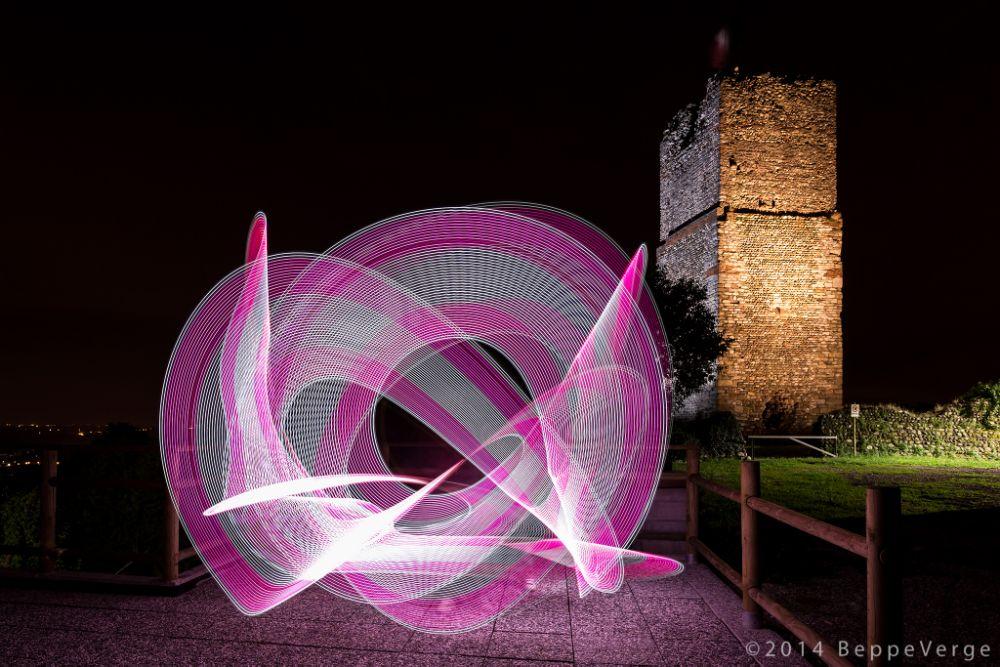 Photo in Abstract #beppeverge #gattinara #light painting #lightart #light art #torre delle castelle