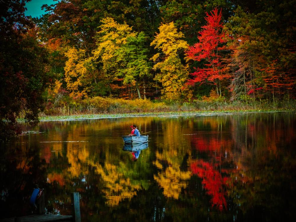 Photo in Landscape #fishing #grandpa #boat #nature #lake #fish #men #water #fall #color #reflection #michigan #canon