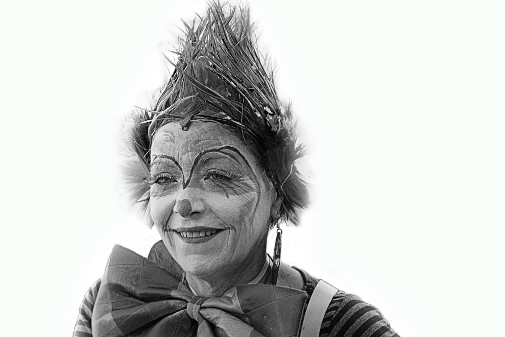 Photo in Black and White #clown #people #portrait #street photography #woman #black and white #noir et blanc #carnaval