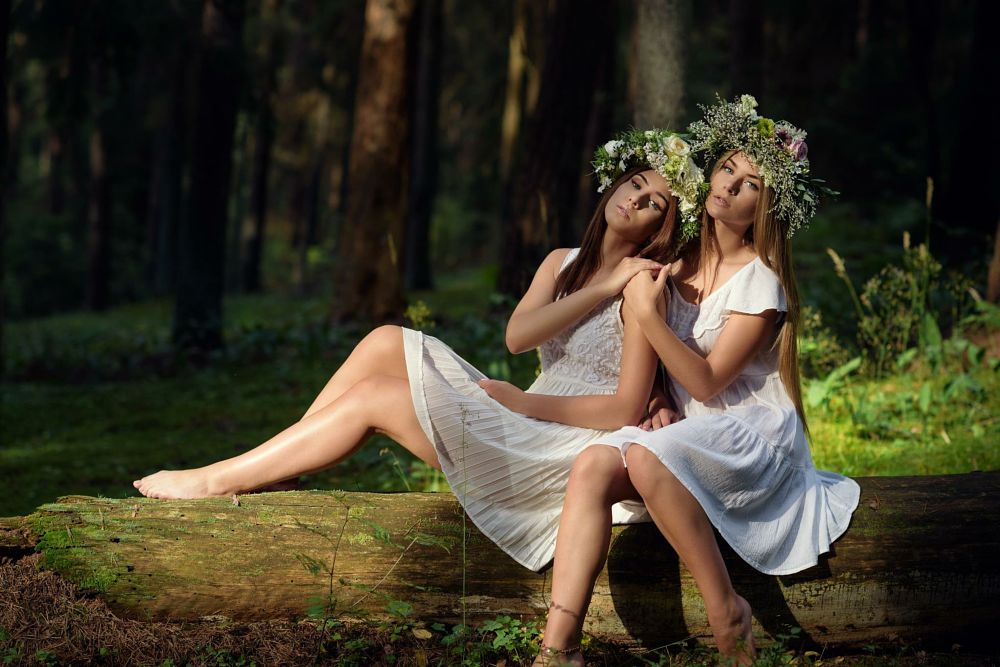 Photo in People #wood #goddess #forest #two #girls