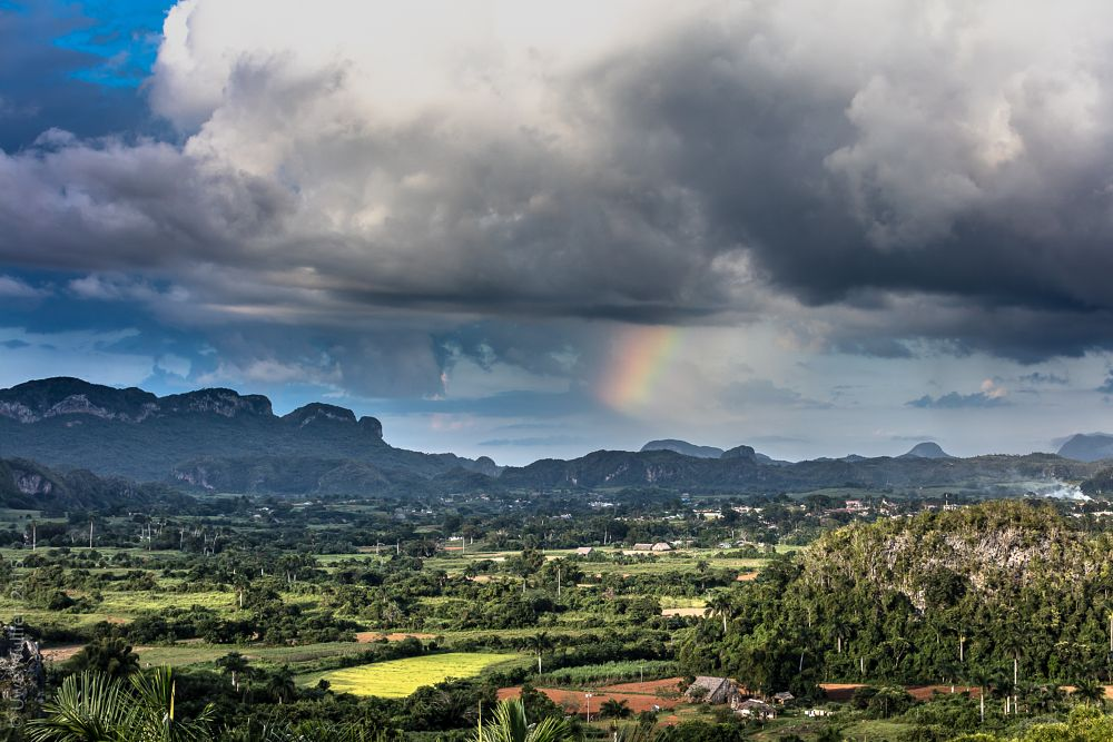 Photo in Nature #vinales #pinar del rio #cuba #caribbean #rainbow #clouds #mountains #green #panorama #landscape #country