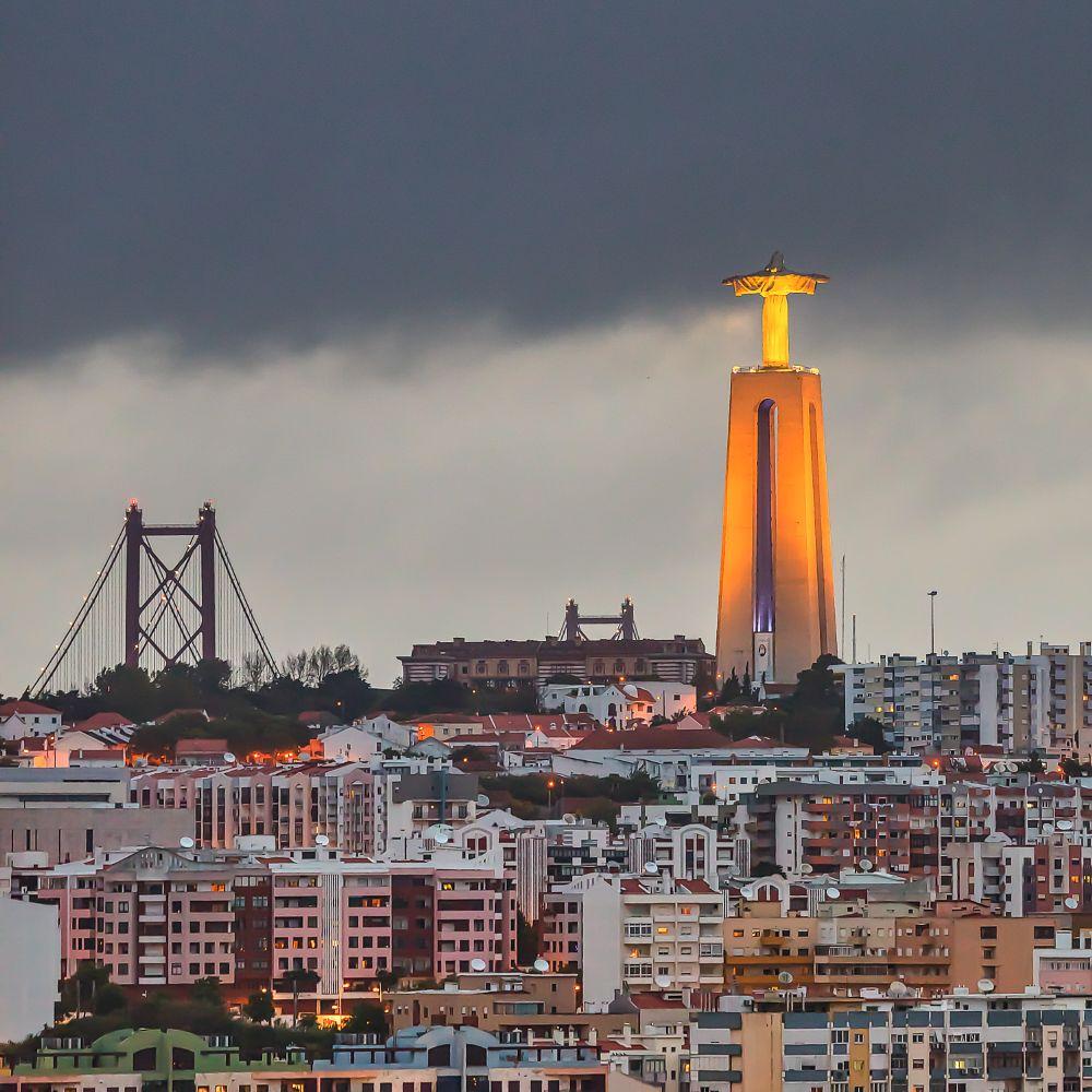 Photo in Architecture #portugal #lisboa #lisbon #europe #almada #bridge #cristo rei #night #light #weather