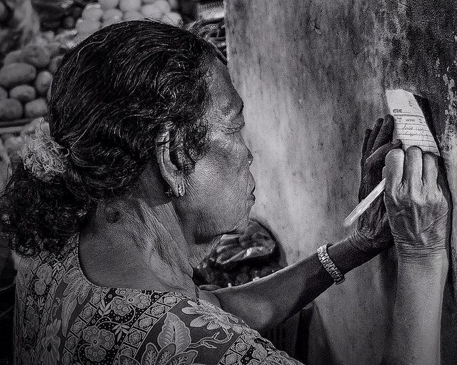 Photo in Street Photography #black and white #street #people #places #travel #market #markets #woman #jakarta #indonesia