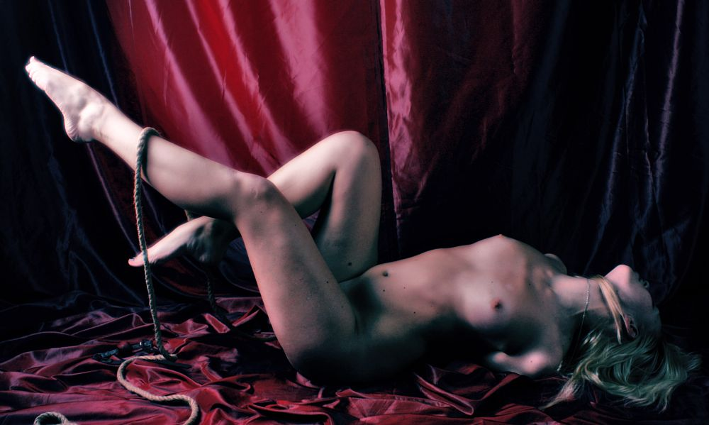 Photo in Nude #adult #nude #barefoot #tied up #rope bondage #blonde