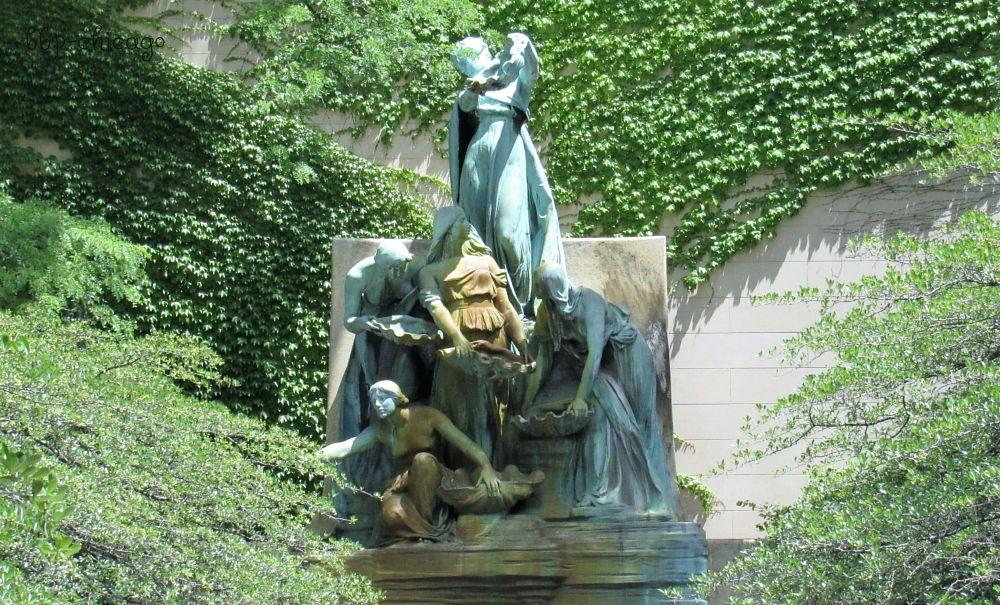 Photo in Fine Art #sculpture #art #chicago #interesting #fountain #sun #vines #branches