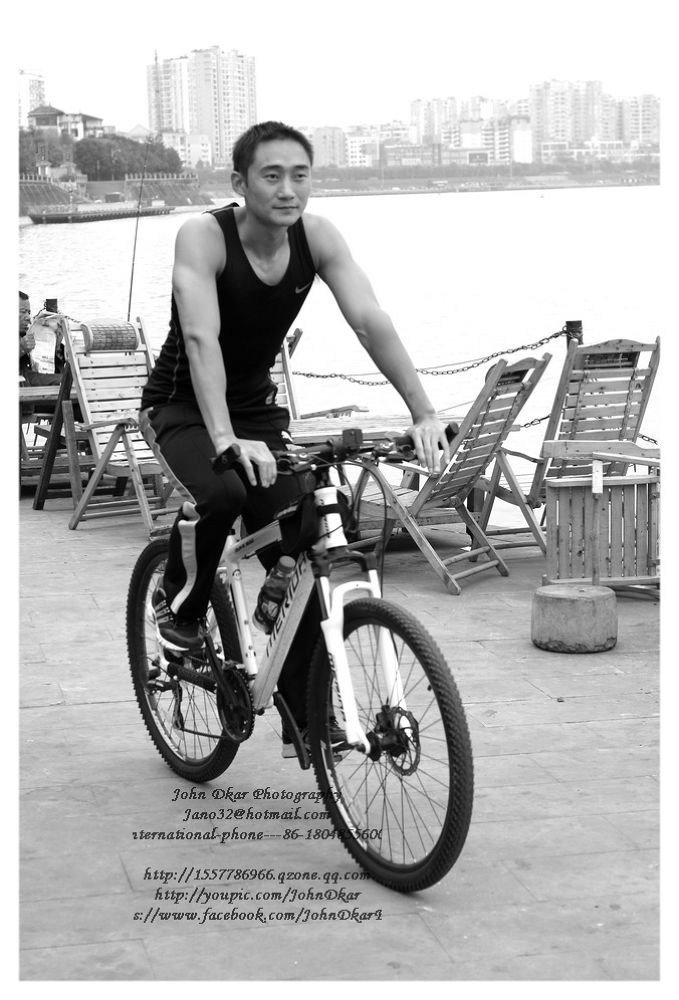 Photo in Black and White #rider #biker #suining #sichuan #china #johndkar #model #river