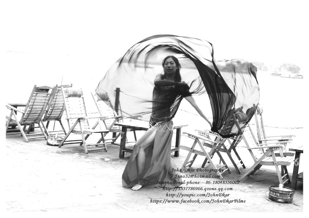 Photo in Black and White #belly dancing #suining #sichuan #china #johndkar #model #river