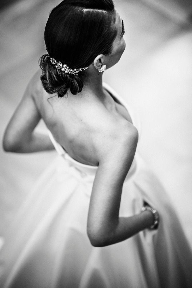Photo in Wedding #bride #wedding #wedding dress #portrait #wedding morning #wedding photography #ana rosso #ana rosso photography #woman #wedding photographer #beauty #beautiful #glamour #fashion #bw #black&white #hairstyle #stylish