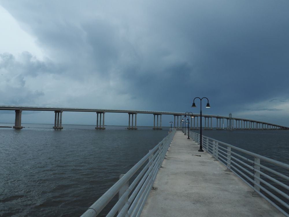 Photo in Random #bridge #pier #water #clouds #landscape