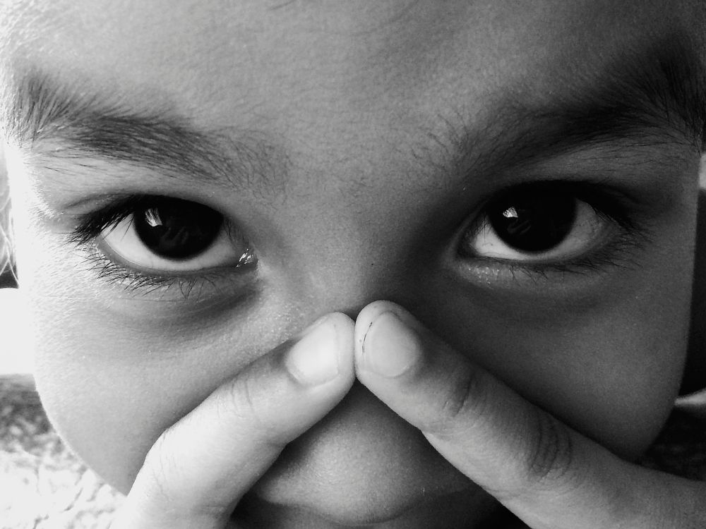 Photo in Black and White #eyes #cute #child #childhood