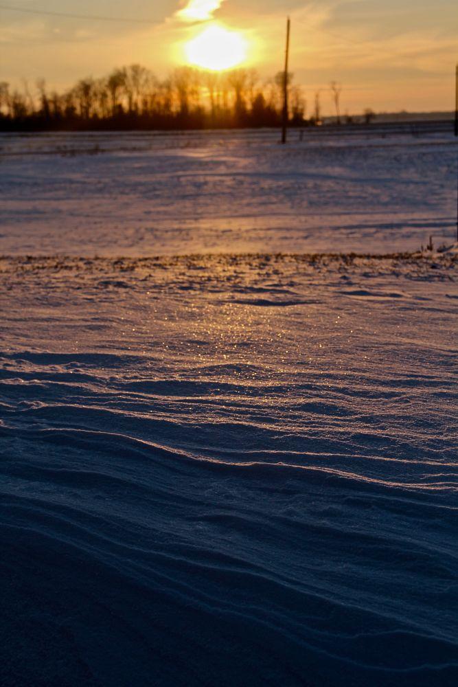 Photo in Landscape #sunset #snow #rural #farm